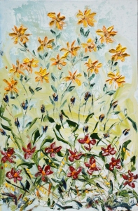 Irises Between Tall Yellows Short Reds by Andrew N. Olscher