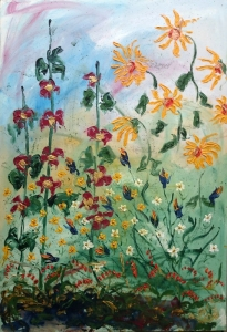 Less is More Hollyhocks Iris and Sunflowers by Andrew N. Olscher