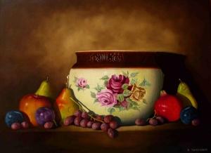 Plums Pears & Pomegranate by Bob Thackeray