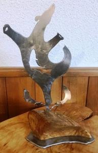 Dancing Bear on Wood by Cathy Mark