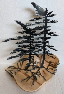 Maple Burl Double Windswept Pines by Cathy Mark