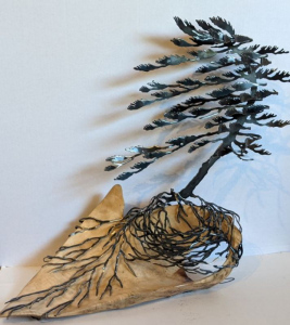 Burl with Windswept Pine (Large) by Cathy Mark