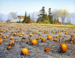 Pumpkin Field in October by Conrad Mieschke
