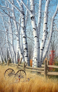 Birchtrees in October by Conrad Mieschke