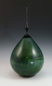 Hollow Form Vase Dyed with Finial by Frank DiDomizio
