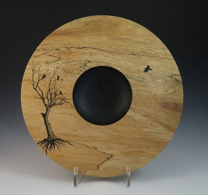 Platter with Pen Ink Tree Image by Frank DiDomizio