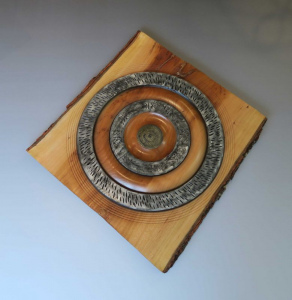Live Edge Cherry Wall Sculpture With BlackSilver by Frank DiDomizio
