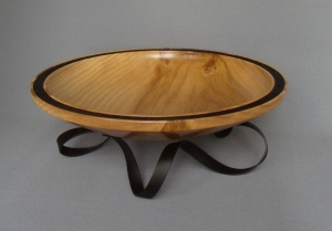 Maple Bowl with Black Rim Metal Stand by Frank DiDomizio