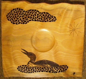 Platter with Loon and Cutouts by Frank DiDomizio