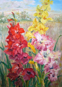 Red Yellow Pink Gladioli by Guttorn Otto