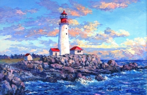 Sunset Boston Light by James L. Keirstead