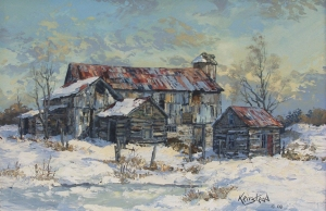 Winter Dusk Richmond Barns by James L. Keirstead