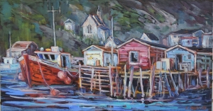 Moored for the Day (Petty Harbour) by Lucy Manley