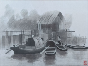 Boats and Bridge (Black and White) by Qing Zhang