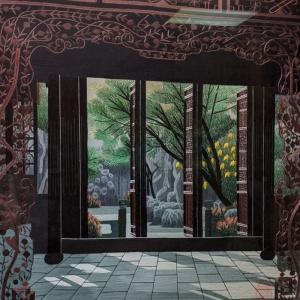 Carving Gate Garden (Rectangle) by Qing Zhang