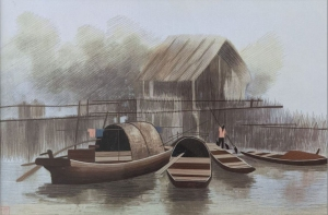 Boats and Bridge Colour by Qing Zhang