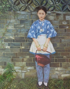 Girl with Basket by Qing Zhang