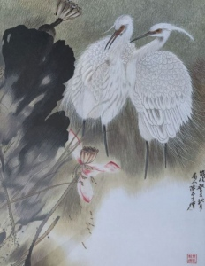Lotus Cranes with Chinese Words by Qing Zhang