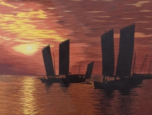 Sunset with Two Boats by Qing Zhang